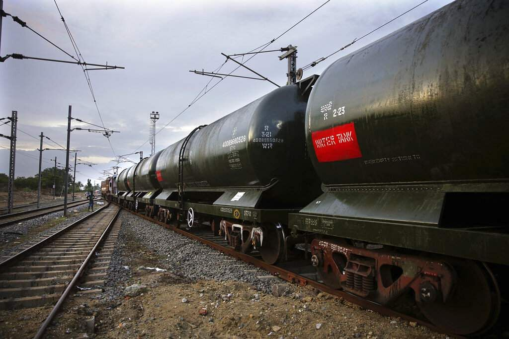 A train carrying water piped in from Mettur dam on River Cauvery, at Jolarpet railway station. The 50-tank train carries 2.5 million litres of water on its daily sojourns. (AP Photo/Manish Swarup)