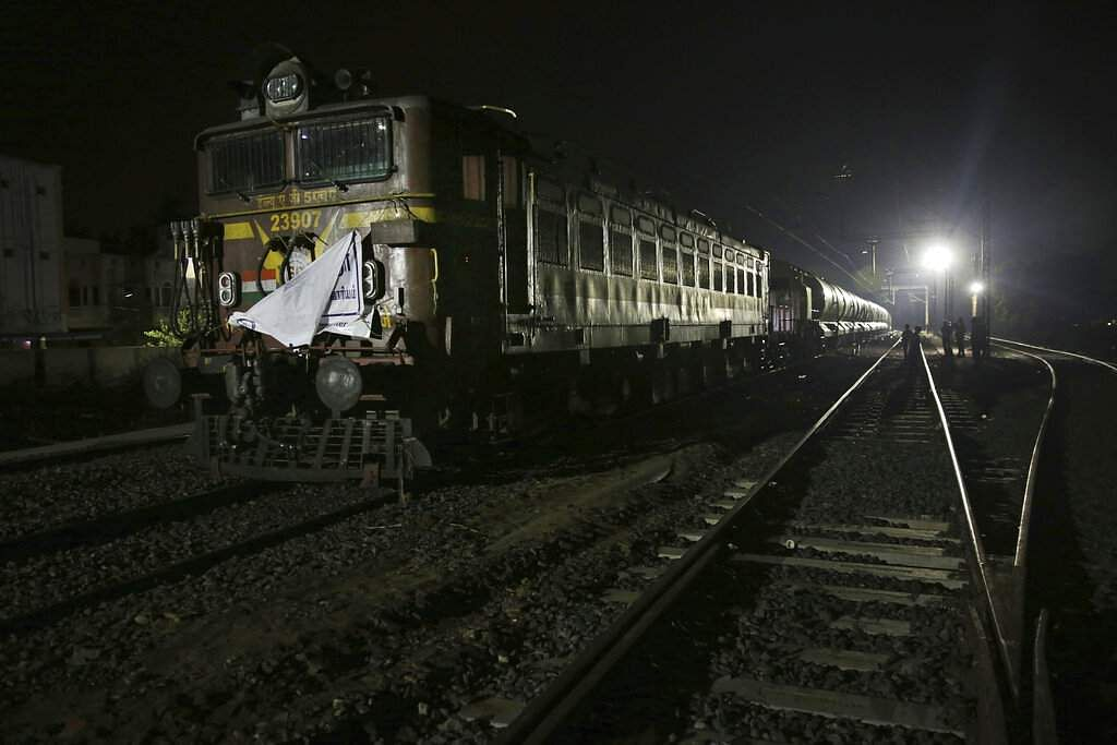 A train carrying water at Villivakkam railway station in Chennai. On its daily sojourn, the 50-tank train carries 2.5 million litres of drinking water. (AP Photo/Manish Swarup)
