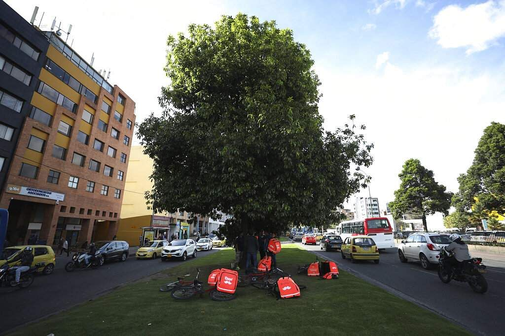 Venezuelan couriers wait under a tree for messages from the Rappi app to make deliveries in Bogota. (AP Photo/Fernando Vergara)