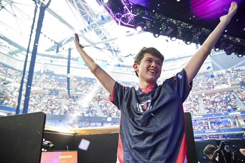 Kyle Giersdorf wins the Fortnite World Cup solo finals in New York (Epic Games via AP)