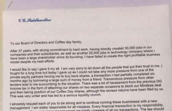 Letter allegedly written by VG Siddhartha (Source: Internet)