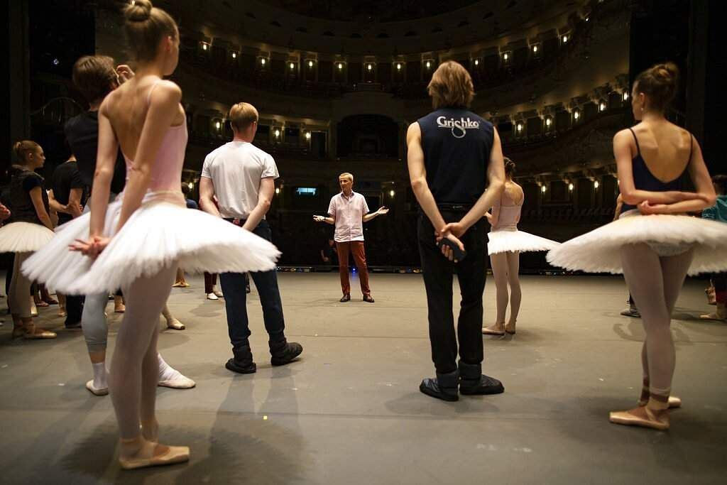 Makhar Vaziev, the ballet director of the Bolshoi Theater gestures as he conducts a rehearsal in the Bolshoi Theater in Moscow, Russia. (AP Photo/Alexander Zemlianichenko)