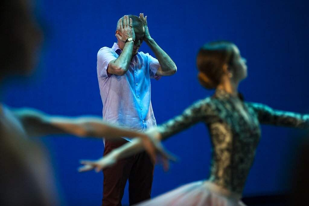 The ballet director of the Bolshoi Theater Makhar Vaziev gestures as he conducts a rehearsal in the Bolshoi Theater in Moscow, Russia. (AP Photo/Alexander Zemlianichenko)