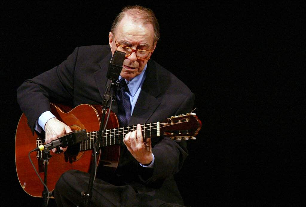 File photo: Brazilian composer Joao Gilberto performs at Carnegie Hall, New York (AP Photo/Mary Altaffer)