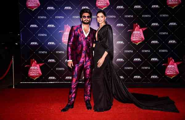 Mumbai: Actor Ranveer Singh with his wife actress Deepika Padukone at Nykaa Femina Beauty Awards 2019, in Mumbai, on Feb 20, 2019. (Photo: IANS)
