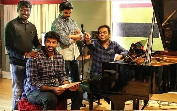 Vijay in the studio with Rahman and team for Bigil (Source: Twitter)