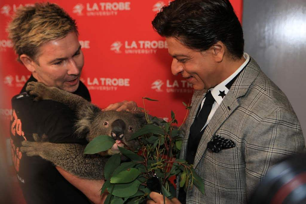 SRK feeds a Koala during celebrations at the La Trobe University