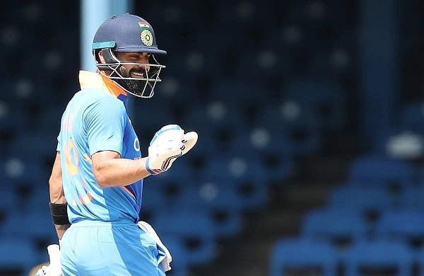 Indian skipper Virat Kohli celebrates his 42nd century in the 2nd ODI between India and West Indies at Queen's Park Oval in Port of Spain, Trinidad on Aug 11, 2019. (Photo: Twitter/BCCI)