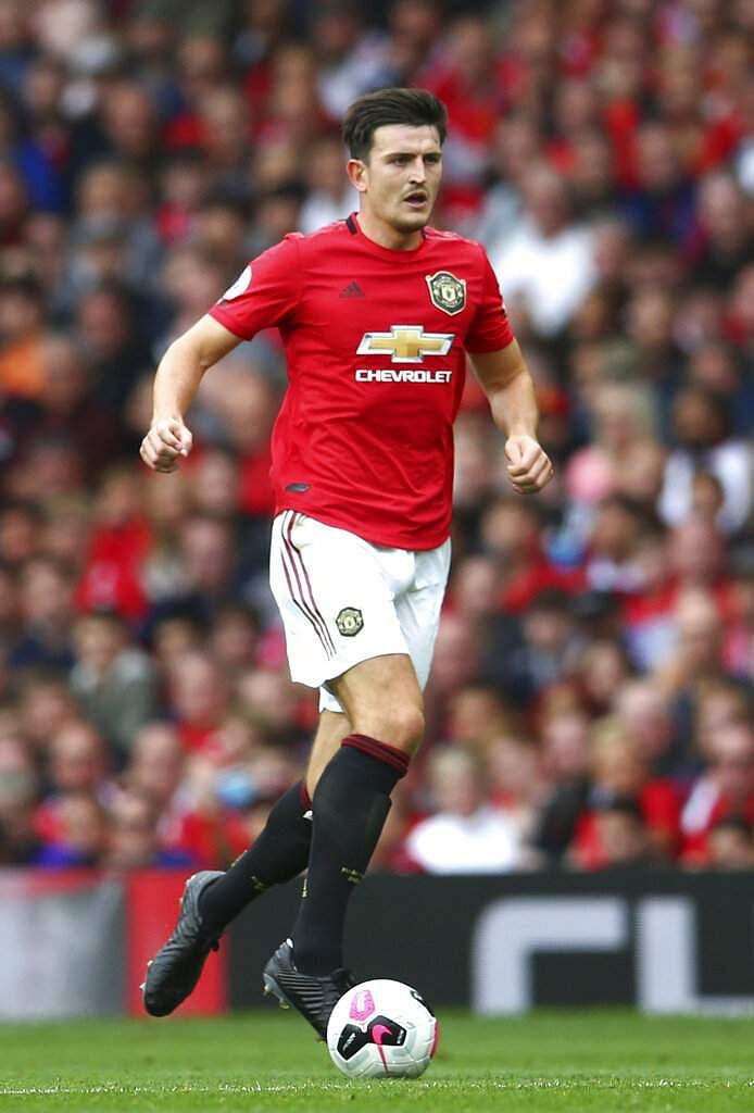 Man U's Harry Maguire in the EPL match against Chelsea. Marcus Rashford scored twice, Anthony Martial grabbed another and substitute Daniel James completed the rout. (AP Photo/Dave Thompson)