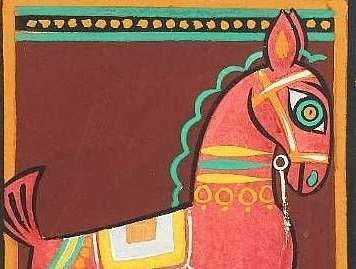 Detail of Jamini Roy's Untitled (Tempera on paper) $6,000-8,000