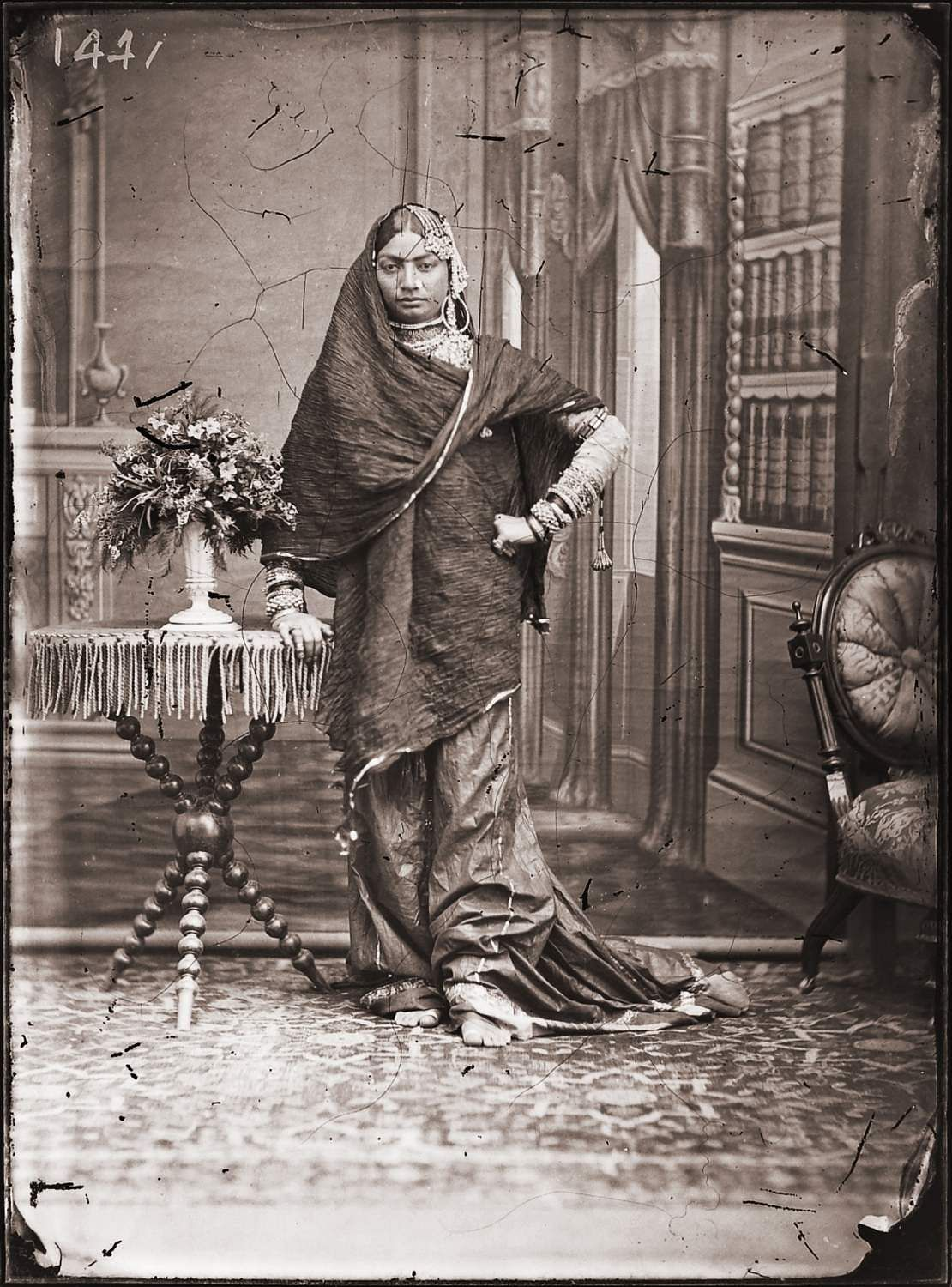 Maharaja Sawai Ram Singh II, unidentified woman of the zenana, digital reprint from wet collodion glass plate negative, c. 1870 CE. A Reflective Oeuvre is on at Art Heritage Gallery, New Delhi.