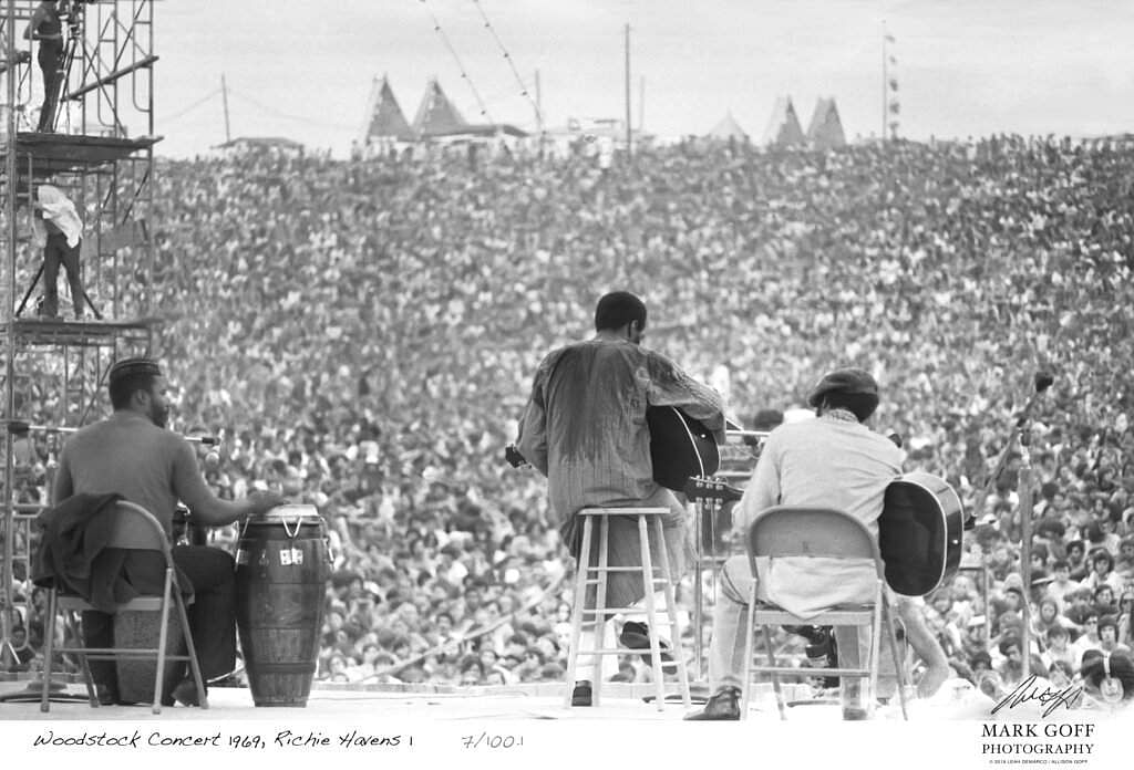1969 file photo: Richie Havens at Woodstock in Bethel, NY. The photo is one of hundreds by Mark Goff now on display, 50 years later. (Mark Goff Photography, Leah Demarco / Allison Goff via AP)