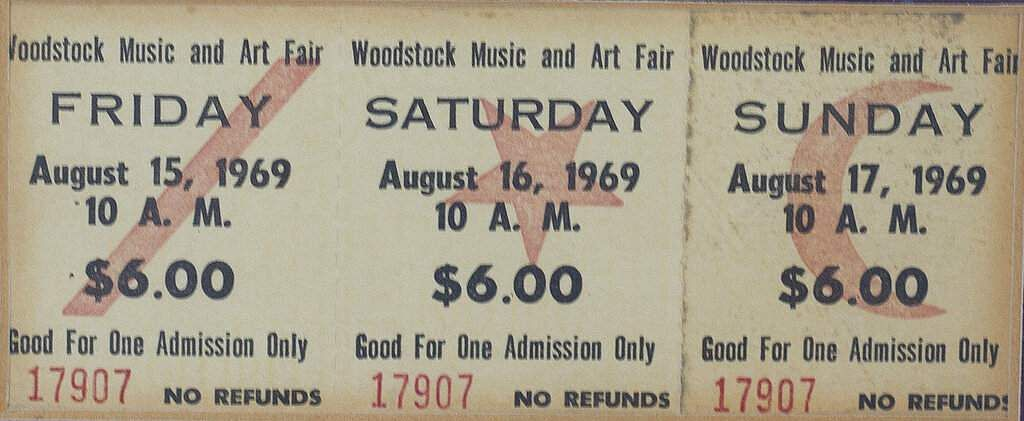 Charles Vestrand's original 1969 Woodstock tickets on display in Drums, Pa. The Woodstock music festival marks its 50th anniversary this month. (Warren Ruda / Hazleton Standard-Speaker via AP)
