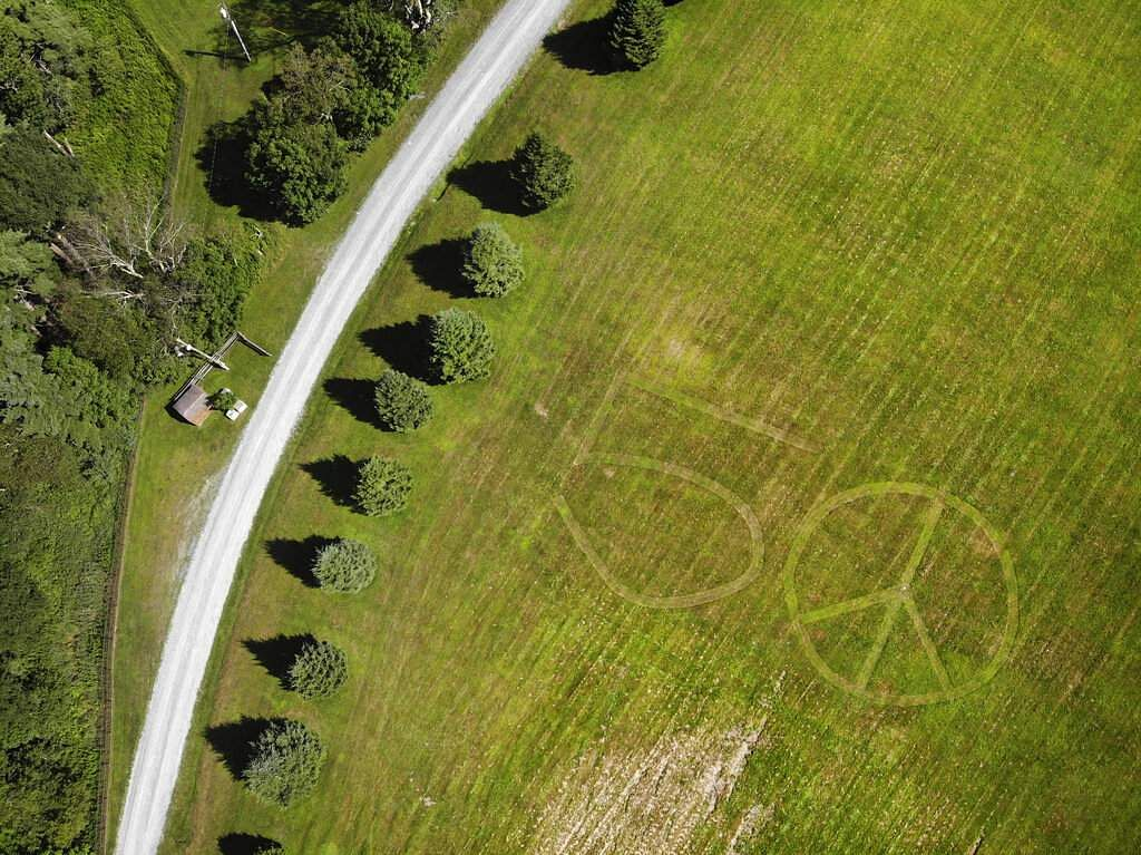 2019 photo: The number 50 and a peace sign mowed into the grass at the site of the 1969 Woodstock Music and Arts Fair in Bethel, NY. (AP Photo/Seth Wenig)
