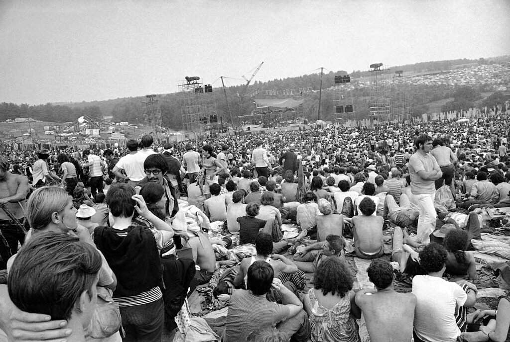 1969 file photo: A portion of the 400,000 concert goers who attended the Woodstock Music and Arts Festival held on a 600-acre pasture near Bethel, NY. (AP Photo)