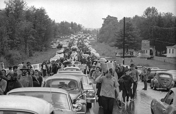 1969 file photo: Rock music fans jam a highway leading from Bethel, NY as they try to leave the Woodstock Music and Art Festival. (AP Photo)