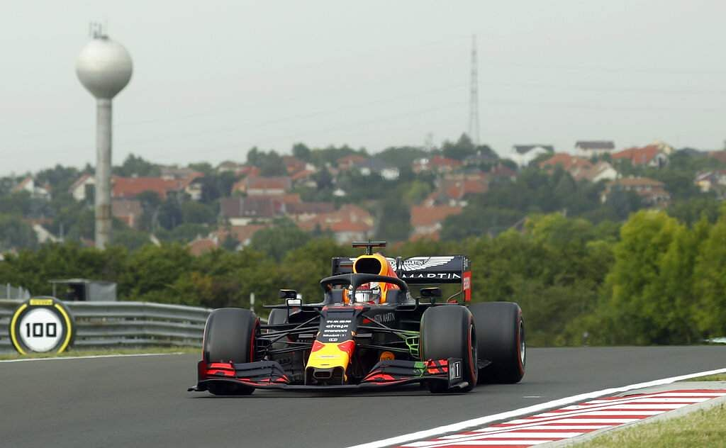 Red Bull driver Max Verstappen on a practice run of the Hungarian Formula One Grand Prix at Hungaroring racetrack in Mogyorod. The Hungarian F1 GP takes place on Sunday. (AP Photo/Laszlo Balogh)