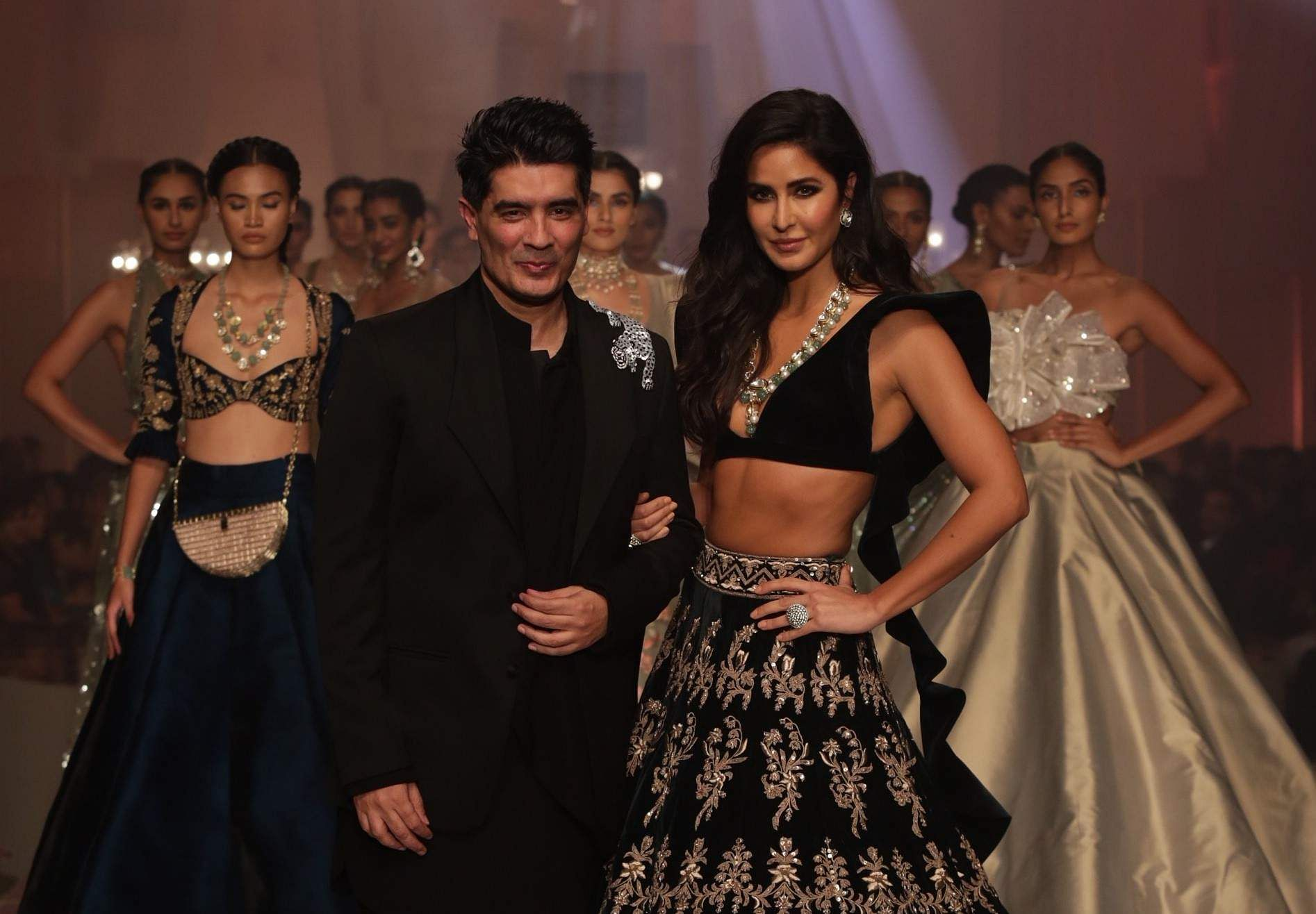 Designer Manish Malhotra with showstopper Katrina Kaif at the opening show of Lakme Fashion Week