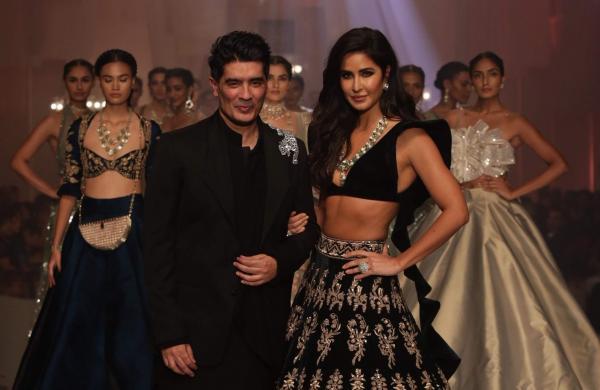 Designer Manish Malhotra with showstopper Katrina Kaif at the opening show of Lakme Fashion Week