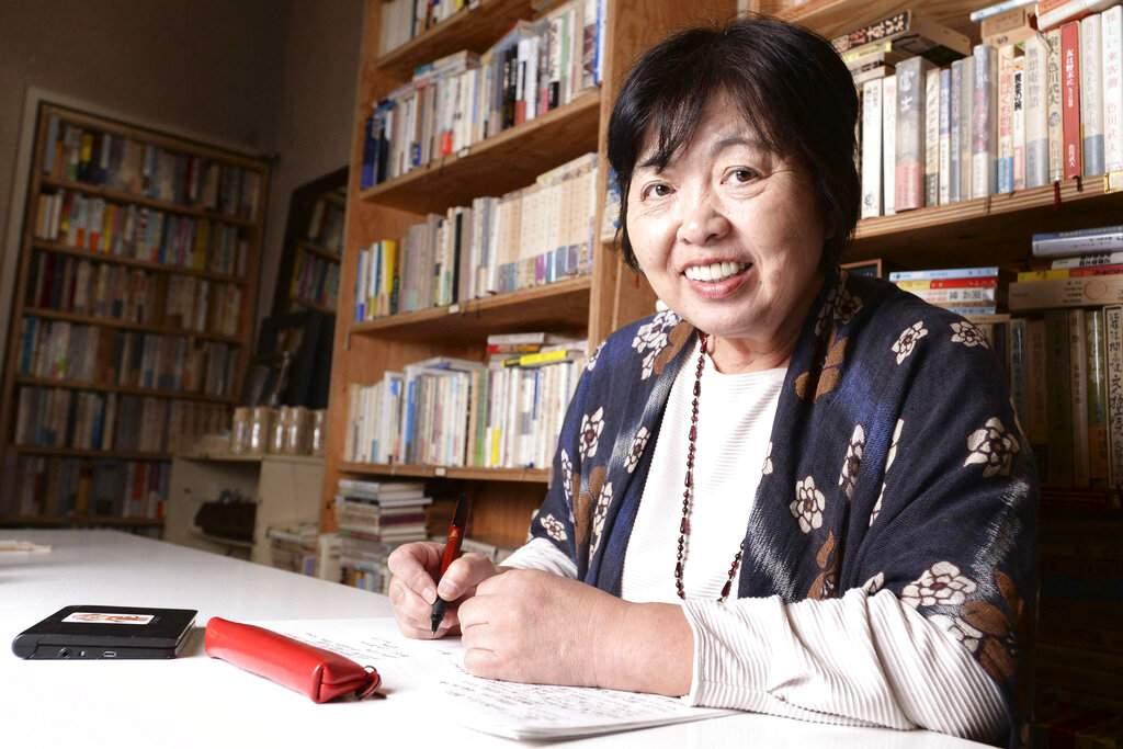 Japanese writer Chisako Wakatake at the Museum of Modern Japanese Literature in Tokyo. Wakatake, 63, won the Akutagawa Prize in 2017 for I'll Live by Myself. (Kenichiro Kojima/Kyodo News via AP)