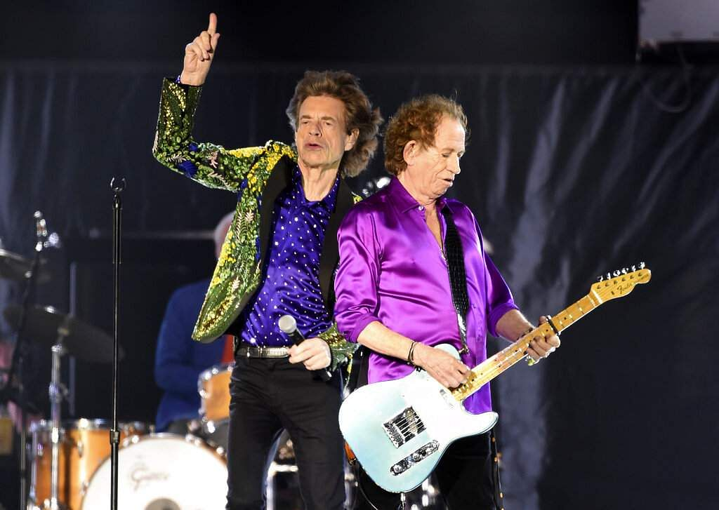 Mick Jagger and Keith Richards of the Rolling Stones during their concert at the Rose Bowl, Thursday, Aug 22, 2019, in Pasadena, Calif. (Photo by Chris Pizzello/Invision/AP)