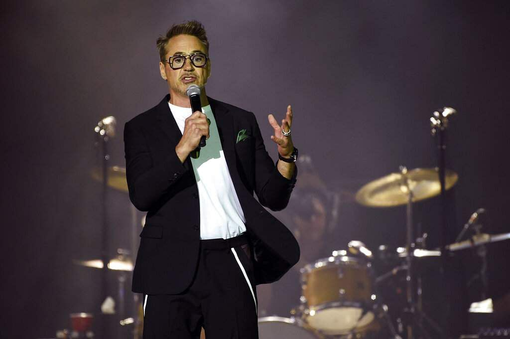 Actor Robert Downey Jr. announces that NASA has officially named a rock spotted rolling across the surface of Mars by its InSight lander 'Rolling Stones Rock.' (Photo by Chris Pizzello/Invision/AP)