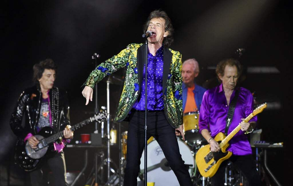 Mick Jagger performs with his Rolling Stones bandmates Ron Wood, Charlie Watts and Keith Richards at the Rose Bowl, Thursday, Aug 22, 2019, in Pasadena, Calif. (Photo by Chris Pizzello/Invision/AP)