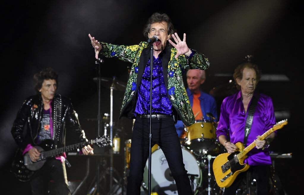 Mick Jagger, Keith Richards and Charlie Watts of the Rolling Stones perform during the band's concert at the Rose Bowl, Thursday, Aug 22, 2019, in Pasadena, Calif. (Photo by Chris Pizzello/Invision/AP