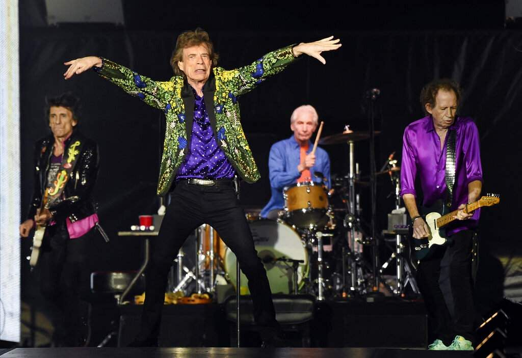 Ron Wood, Mick Jagger, Charlie Watts and Keith Richards of the Rolling Stones perform during their concert at the Rose Bowl, Aug 22, 2019, in Pasadena, Calif. (Photo by Chris Pizzello/Invision/AP)