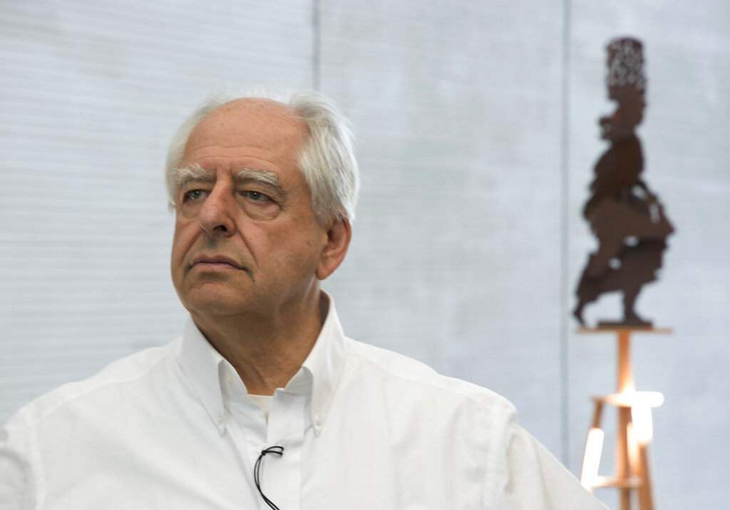South African artist William Kentridge attends the opening of his exhibition in Cape Town, South Africa. (AP Photo/Trevor Samson)