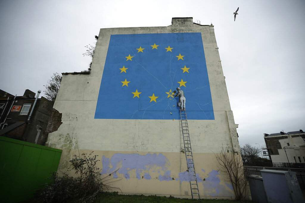Street Artist Banksys Brexit Mural Disappears From Wall In Seaside Port Of Dover, England-2697