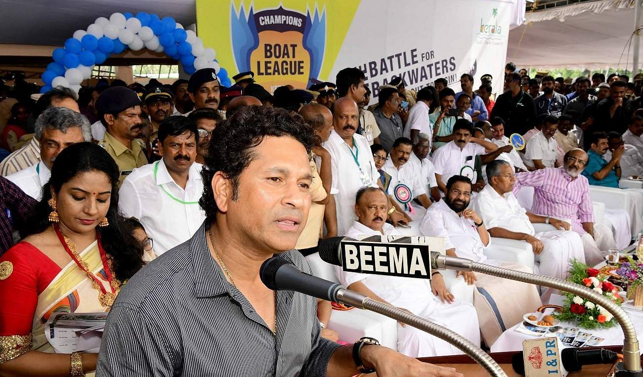 Cricket icon Sachin Tendulkar speaks at the inaugural function of 67th Nehru Trophy Boat Race and first-ever Champions Boat League at Punnamada Lake, Alappuzha, on August 31.