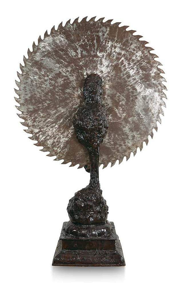 LN Tallur's Halo Vs. Body (Bronze & iron) INR 15,00,000 – 20,00,000 | US$ 22,556 – 30,075. The AstaGuru South East Asian online auction is on Aug 22-23.
