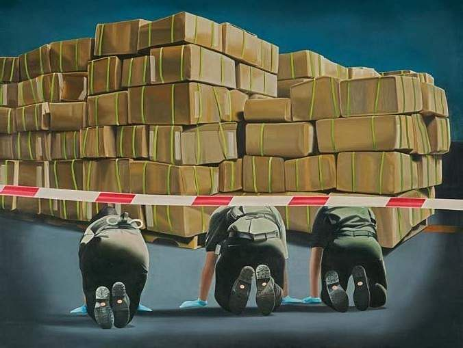 Shibu Natesan's Investigation (Oil paint on linen) INR 10,00,000 – 12,00,000 | US$ 15,038 – 18,045. The AstaGuru South East Asian online auction is on Aug 22-23.