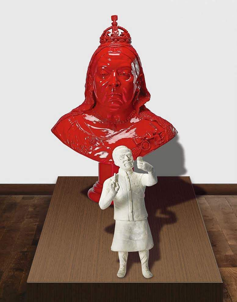 Debanjan Roy's Queen Victoria & Modi (Acrylic on fibreglass) INR 1,00,000 – 1,50,000 | US$ 1,504 – 2,256. The AstaGuru South East Asian online auction is on Aug 22-23.