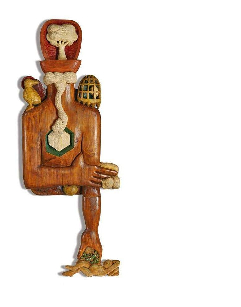Karl Antao's Untitled (Oil on Burma teak) INR 5,00,000 – 7,00,000 | US$ 7,519 – 10,526. The AstaGuru South East Asian online auction is on Aug 22-23.