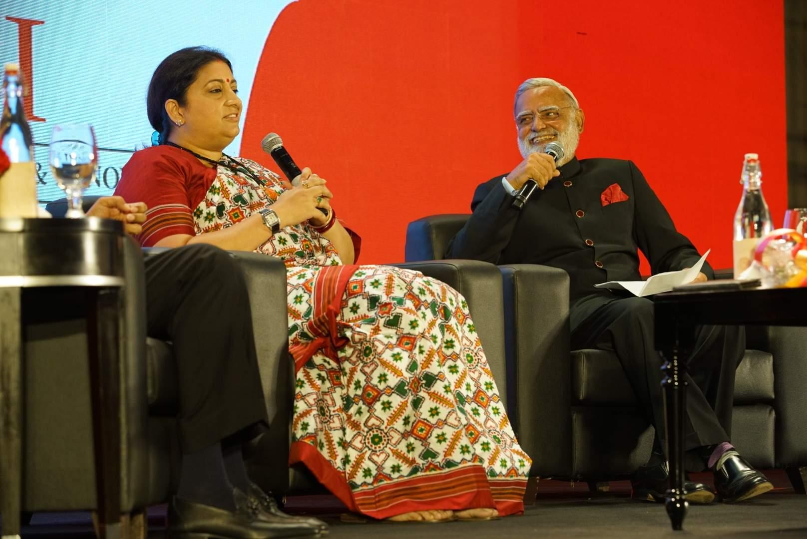 Mrs Irani shares a light moment with Prabhu Chawla