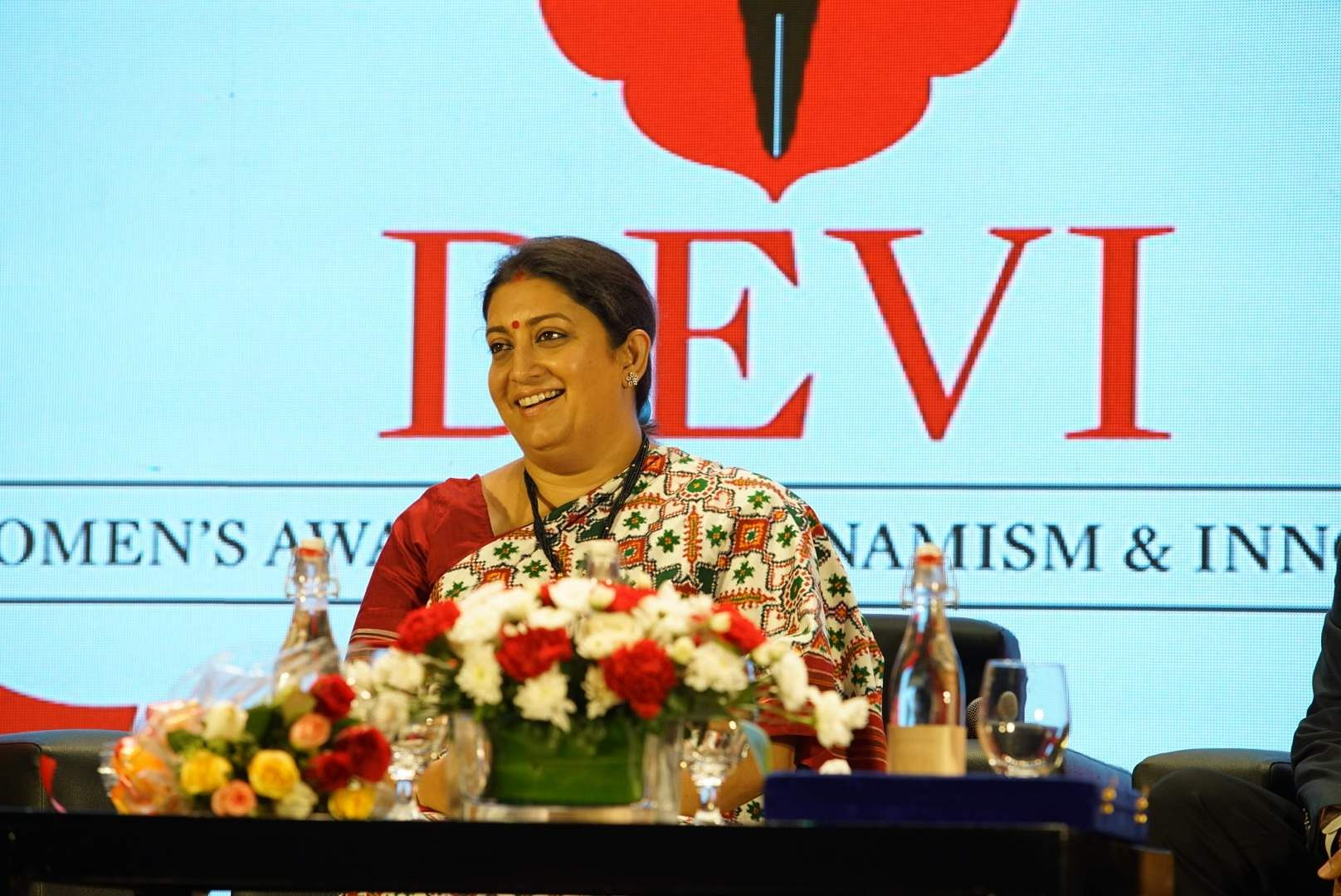 We find Smriti Irani in jolly spirits during a candid moment at the ceremony