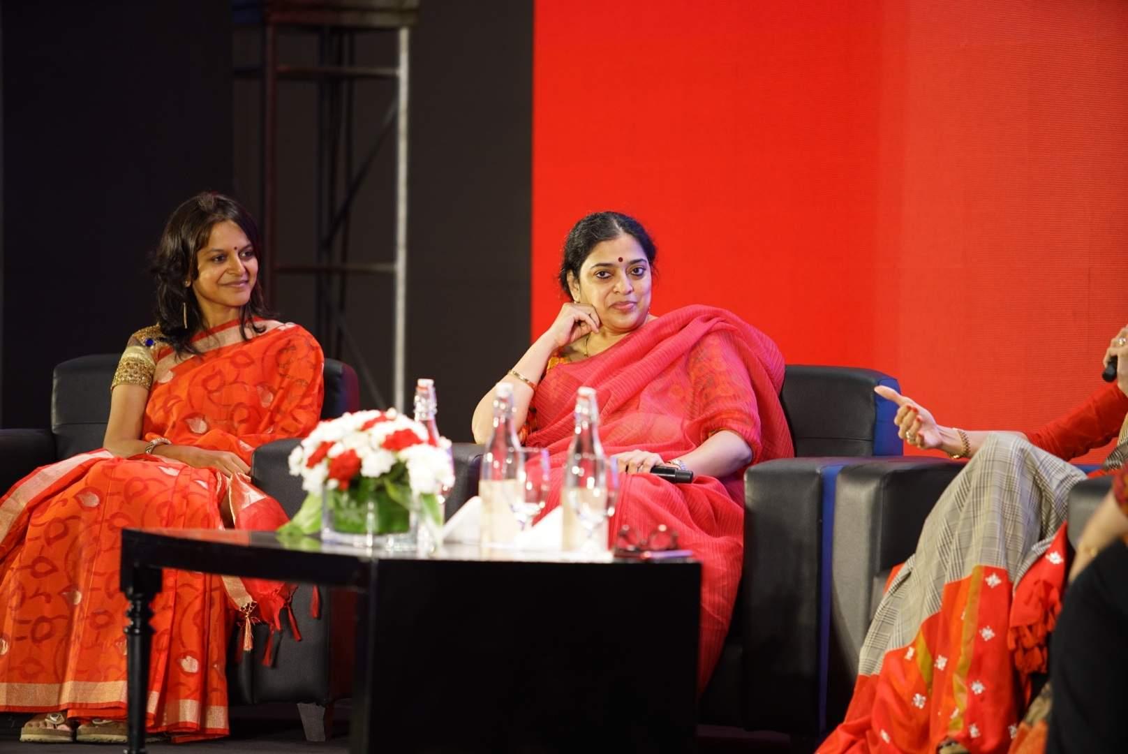 Devi Award recipient Ekta Jaju and handloom revivalist Malvika Banerjee at  the discussion panel