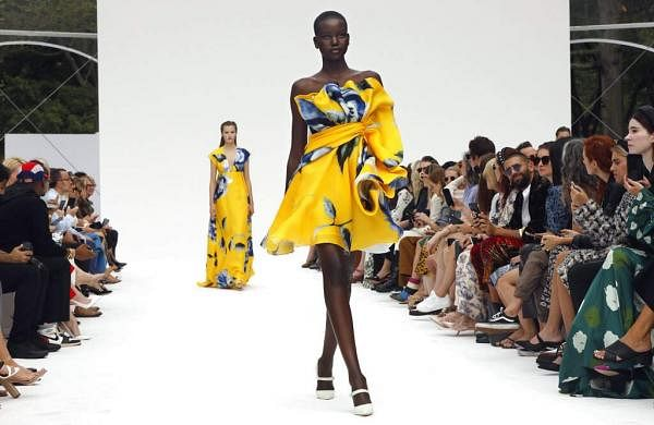 The Carolina Herrera collection is modeled during Fashion Week, in New York, Monday, Sept. 9, 2019. (AP Photo/Richard Drew)