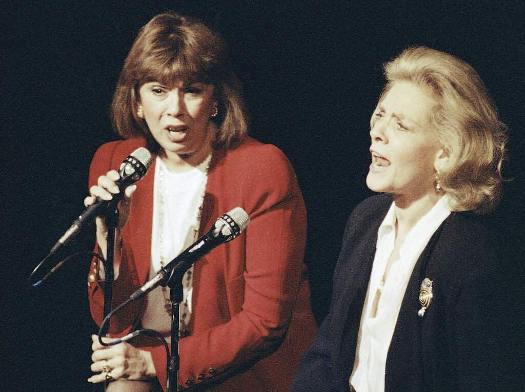 Phyllis Newman and Lauren Bacall (AP Photo/Mark Lennihan)