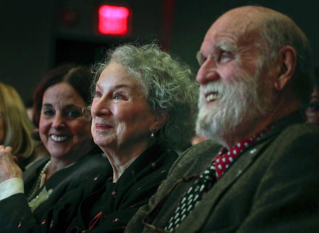 Margaret Atwood with Nan Talese and husband Graeme Gibson (AP Photo/Julie Jacobson)