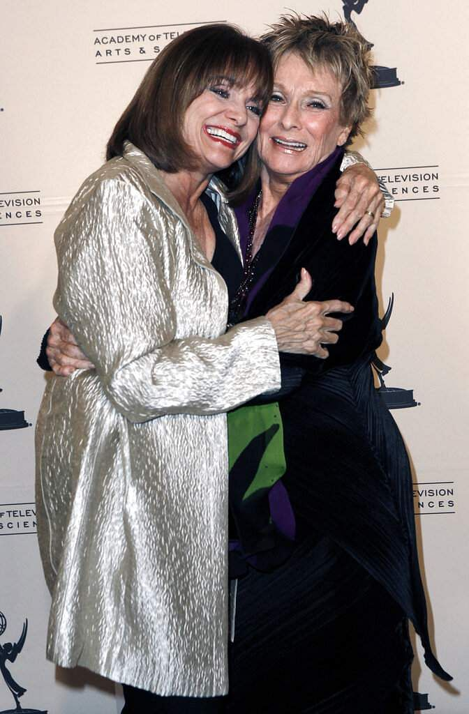 2011 file photo: Inductee Cloris Leachman and Valerie Harper pose at the Academy of Television Arts and Sciences 20th Annual Hall of Fame Induction Gala in Beverly Hills, Calif. (AP Photo/Matt Sayles)