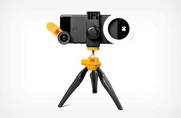 "Kodak Smartphone Photo Kit: Set to launch this October. The kit include a 2-in-1 lens set with a 15x Macro lens and Ultra wide angle lens, Fisheye lens, Portrait light and 8"" Tripod. INR 5,000."