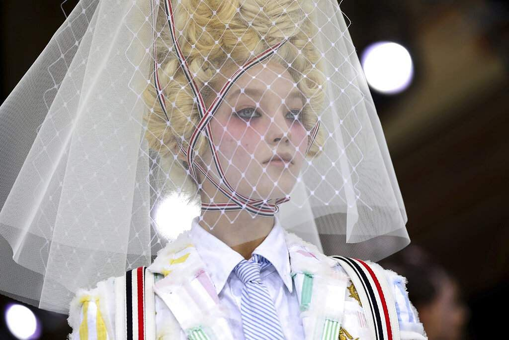 A model wears a creation as part of the Thom Browne Ready To Wear Spring-Summer 2020 collection, unveiled during the fashion week, in Paris. (Photo by Vianney Le Caer/Invision/AP)