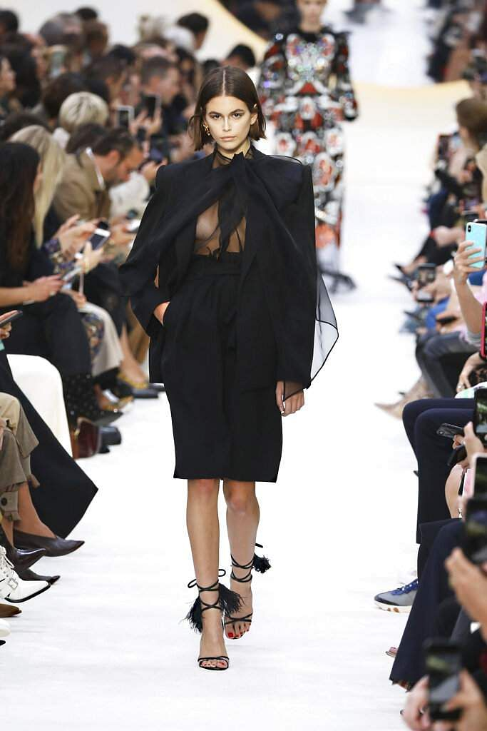 Model Kaia Gerber wears a creation as part of the Valentino Ready To Wear Spring-Summer 2020 collection, unveiled at the fashion week, in Paris. (Photo by Vianney Le Caer/Invision/AP)