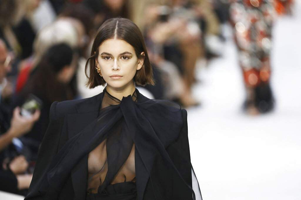 Model Kaia Gerber wears a creation as part of the Valentino Ready To Wear Spring-Summer 2020 collection, unveiled during the fashion week, in Paris. (Photo by Vianney Le Caer/Invision/AP)