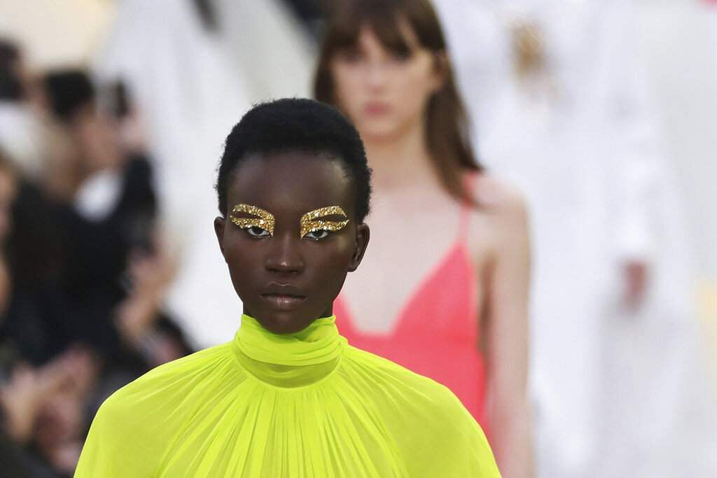 A model wears a creation as part of the Valentino Ready To Wear Spring-Summer 2020 collection, unveiled at the fashion week, in Paris, Sunday, Sept. 29, 2019. (Photo by Vianney Le Caer/Invision/AP)