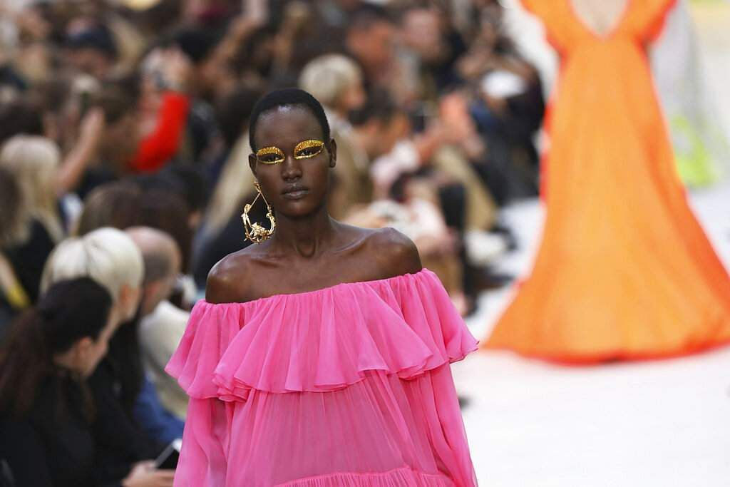 A model wears a creation as part of the Valentino Ready To Wear Spring-Summer 2020 collection, unveiled during the fashion week, in Paris. (Photo by Vianney Le Caer/Invision/AP)