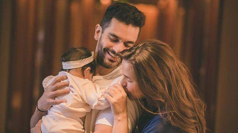Women:Angad Bedi and Neha Dhupia with their daughter